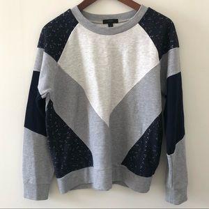 J.Crew colorblock lace sweatshirt